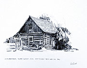 Log building, Soda Creek sketch by peter Ewart
